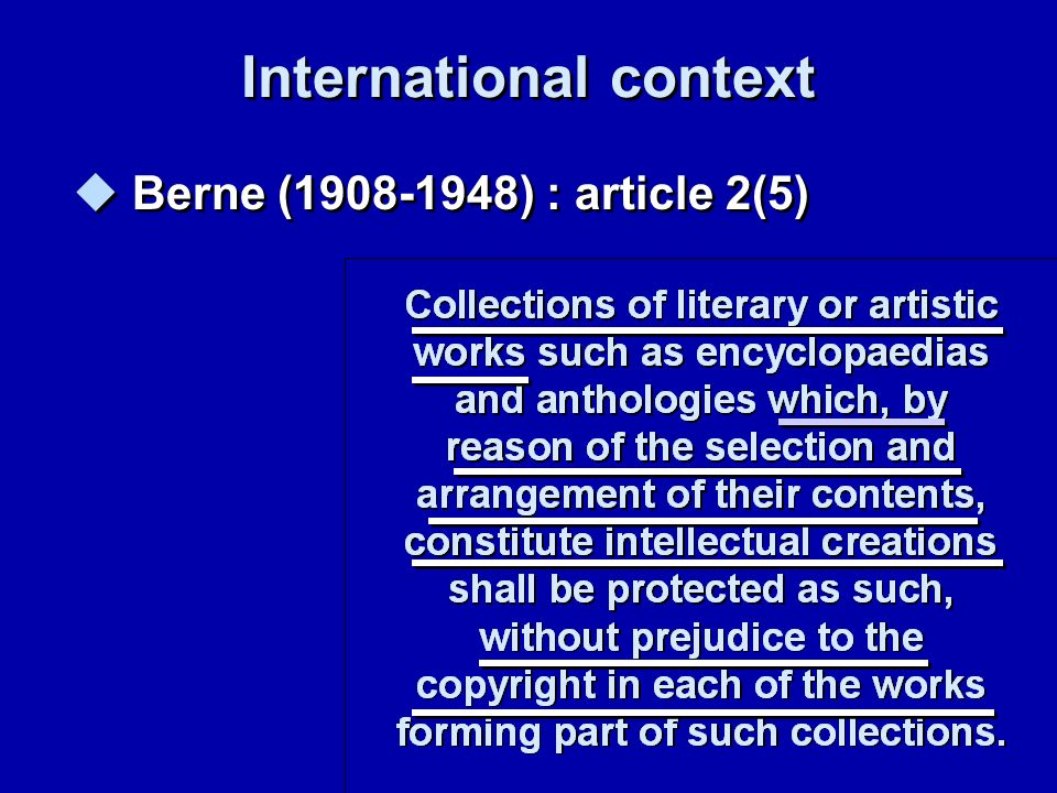 23 Term of protection Copyright Sui generis right Death of author + 70 years Completion of database + 15 years