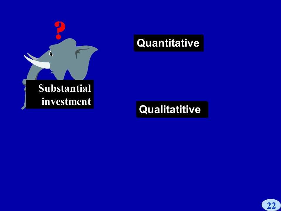 22 Substantial investment Quantitative Qualitatitive