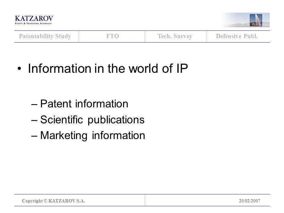 Patentability StudyFTOTech. SurveyDefensive Publ.
