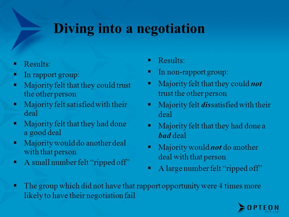 Diving into a negotiation Results: In rapport group: Majority felt that they could trust the other person Majority felt satisfied with their deal Majo