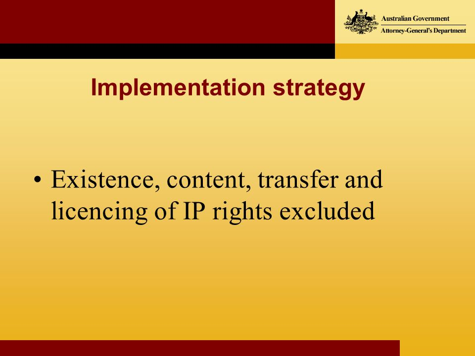Existence, content, transfer and licencing of IP rights excluded Implementation strategy