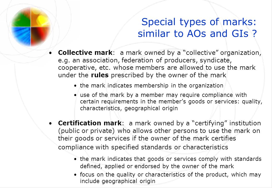 Special types of marks: similar to AOs and GIs .