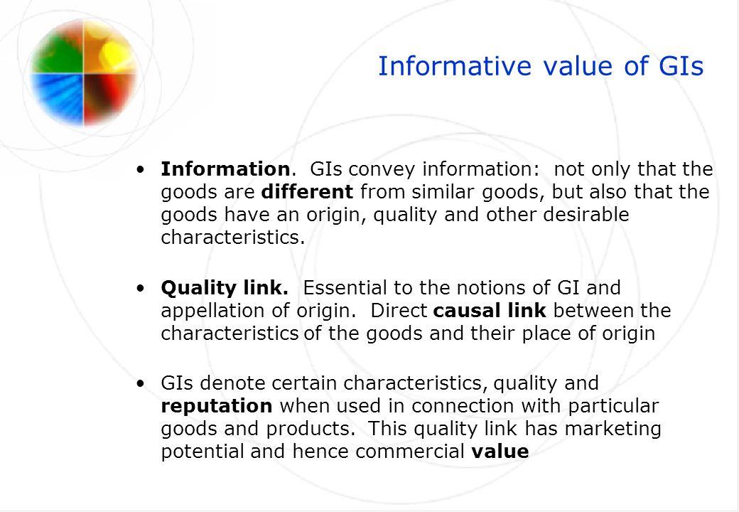 Market value of GIs –Consumer preferences.