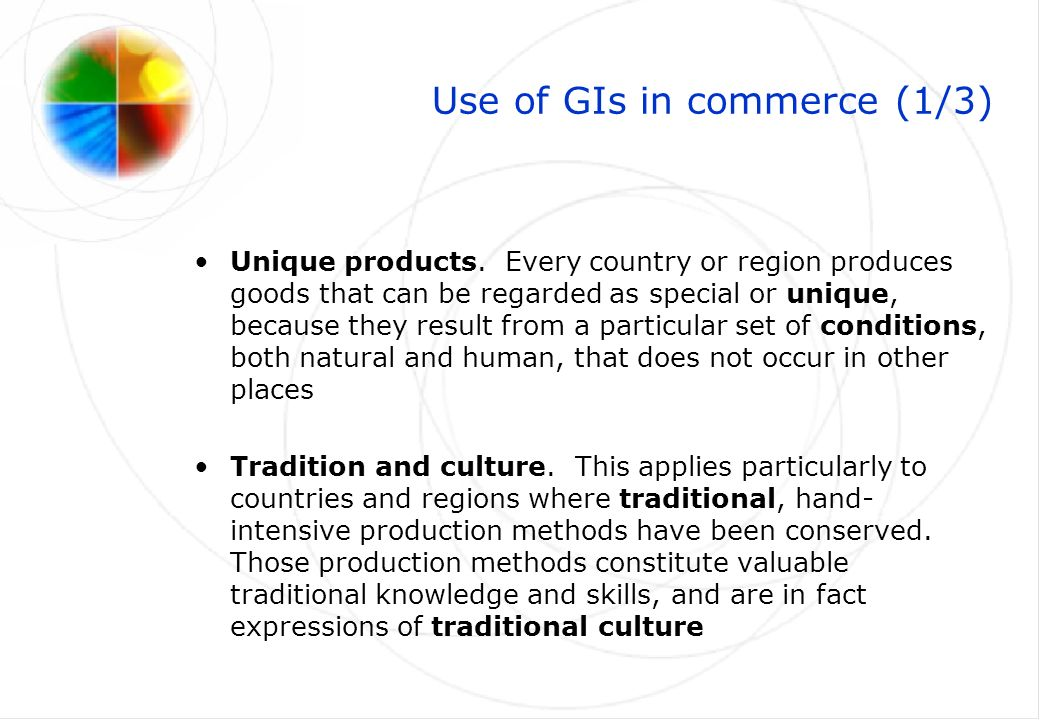 Use of GIs in commerce (2/3) GIs as marketing tool.