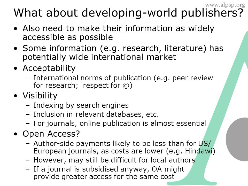 What about developing-world publishers.