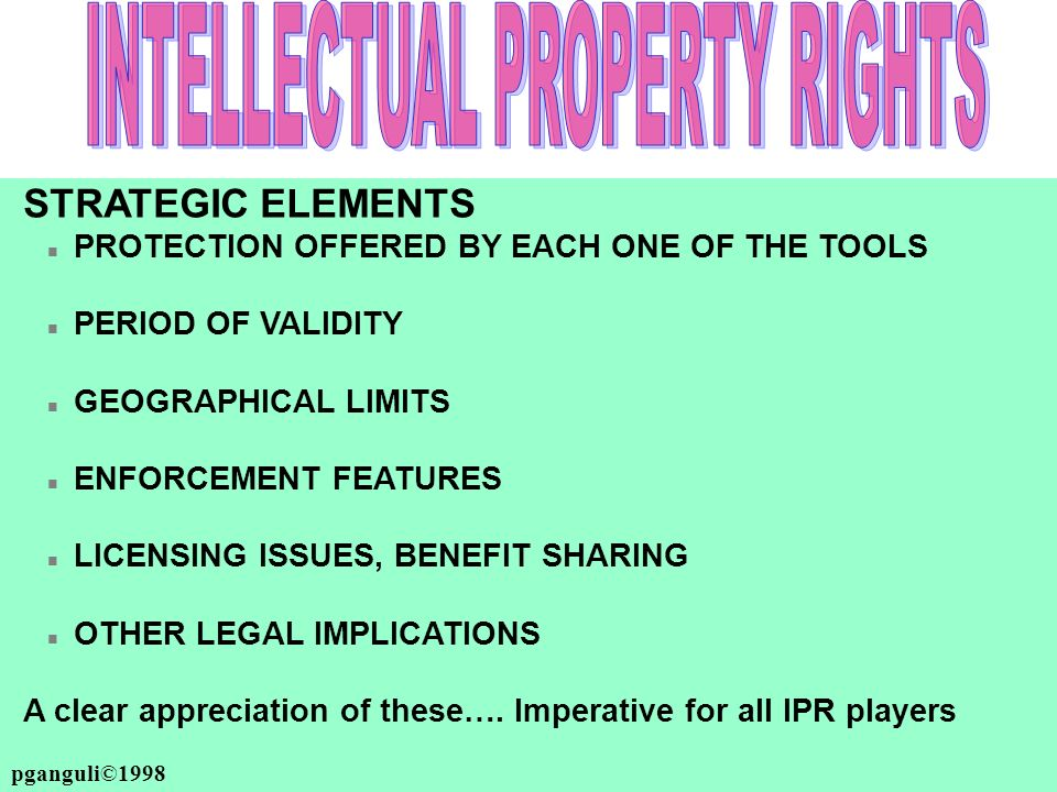 pganguli©2000-2008 STRATEGIC ELEMENTS n PROTECTION OFFERED BY EACH ONE OF THE TOOLS n PERIOD OF VALIDITY n GEOGRAPHICAL LIMITS n ENFORCEMENT FEATURES