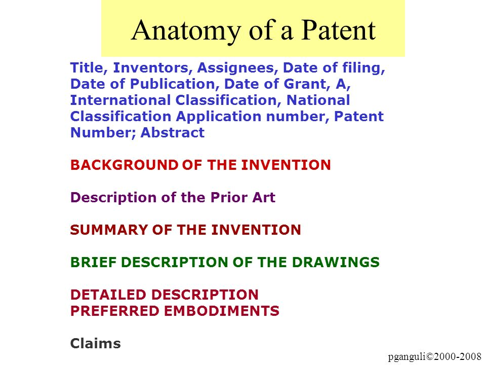 pganguli©2000-2008 Anatomy of a Patent Title, Inventors, Assignees, Date of filing, Date of Publication, Date of Grant, A, International Classificatio