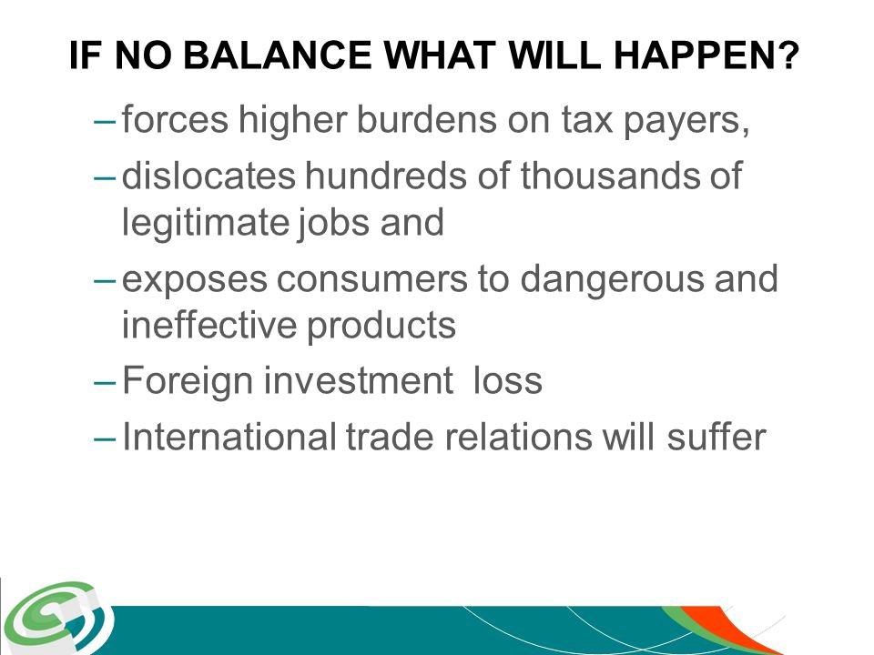 –forces higher burdens on tax payers, –dislocates hundreds of thousands of legitimate jobs and –exposes consumers to dangerous and ineffective products –Foreign investment loss –International trade relations will suffer IF NO BALANCE WHAT WILL HAPPEN