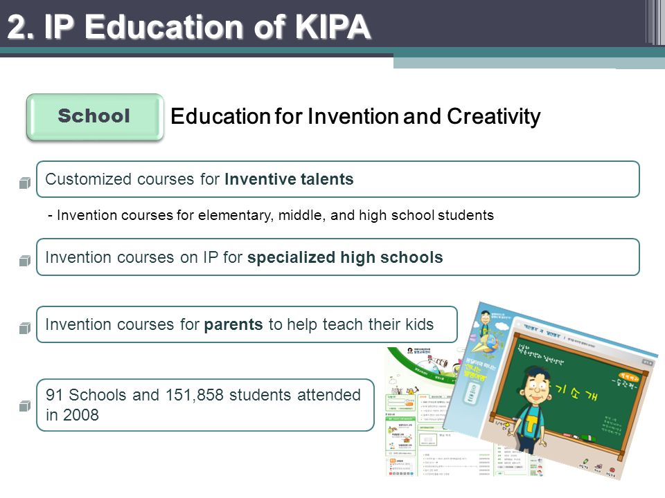 - Invention courses for elementary, middle, and high school students 2.