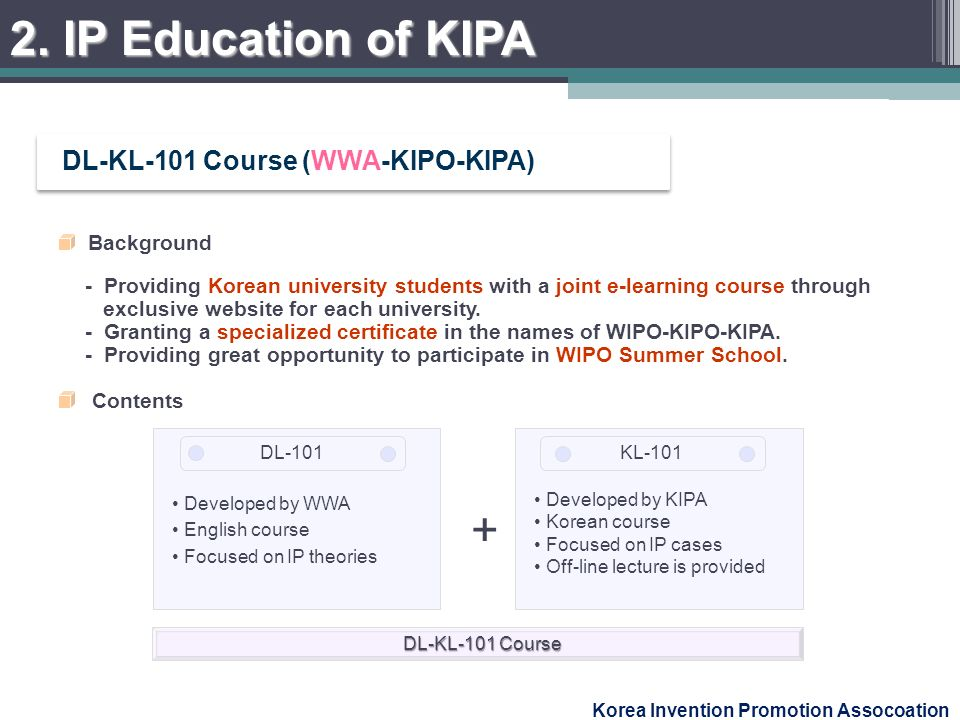 Korea Invention Promotion Assocoation Background - Providing Korean university students with a joint e-learning course through exclusive website for each university.