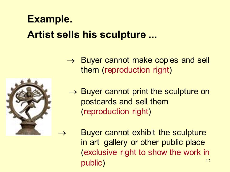 17 Buyer cannot make copies and sell them (reproduction right) Buyer cannot print the sculpture on postcards and sell them (reproduction right) Buyer cannot exhibit the sculpture in art gallery or other public place (exclusive right to show the work in public) Example.