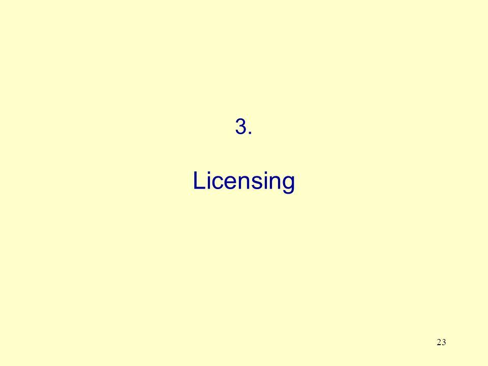 23 3. Licensing