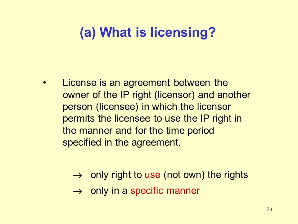 24 (a) What is licensing.