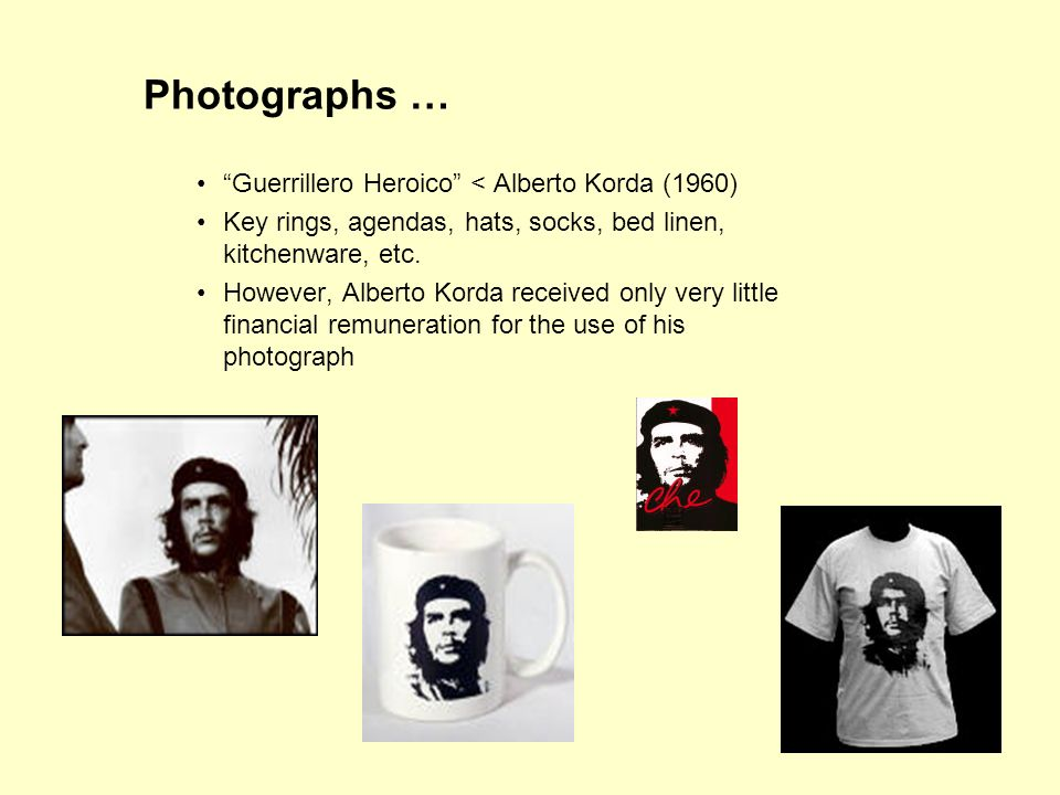 48 Photographs … Guerrillero Heroico < Alberto Korda (1960) Key rings, agendas, hats, socks, bed linen, kitchenware, etc.
