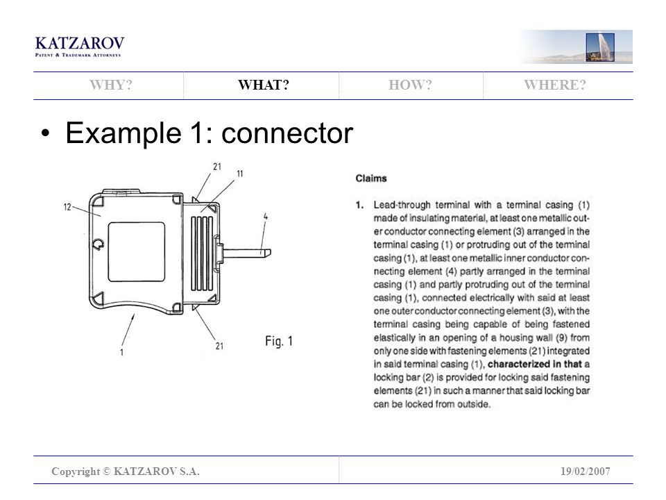 WHY WHAT HOW WHERE Copyright © KATZAROV S.A.19/02/2007 Example 1: connector