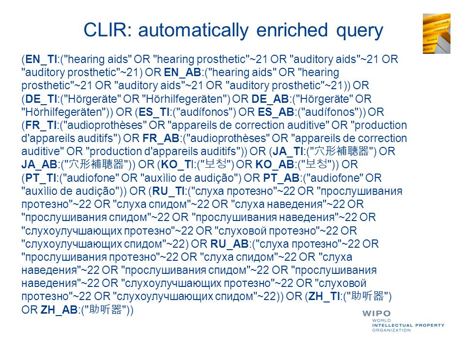 Why use PATENTSCOPE CLIR.