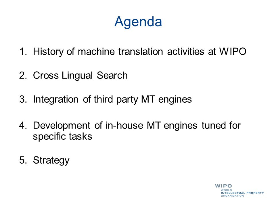 1.History of MT activites At WIPO