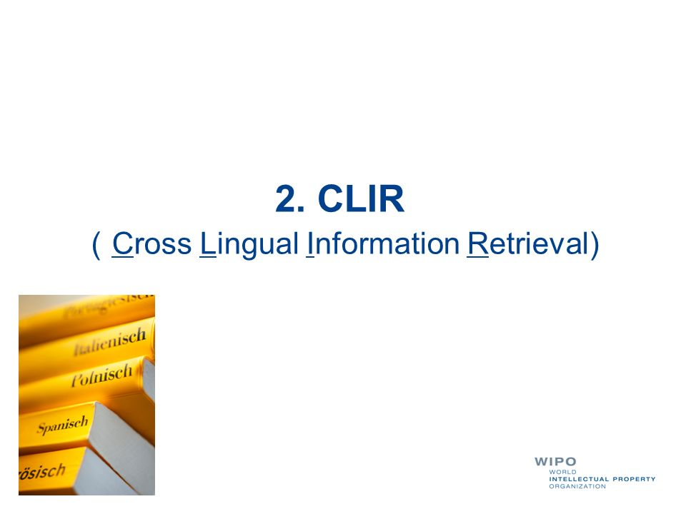 WIPOs Cross-lingual search: principle Free tool available at http://patentscope.wipo.int/search/clir/clir.jsp?interface Language=en Enter a search query in either EN, DE, ES, FR, JP, RU, ZH, PT, IT, DU, SE and it will be expanded into the other languages (keywords translation) Automatic or supervised mode balance between precision and recall set by the user Disambiguation by technical domains and by selection of appropriate synonyms Built from bilingual dictionaries extracted statistically from Patent corpuses without supervision