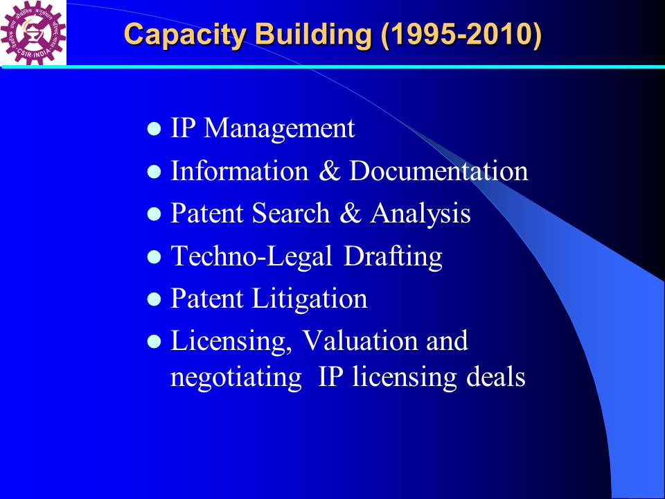 IP Management Information & Documentation Patent Search & Analysis Techno-Legal Drafting Patent Litigation Licensing, Valuation and negotiating IP lic