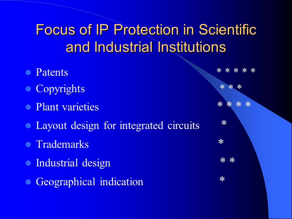 Focus of IP Protection in Scientific and Industrial Institutions Patents * * * * * Copyrights * * * Plant varieties * * * * Layout design for integrat