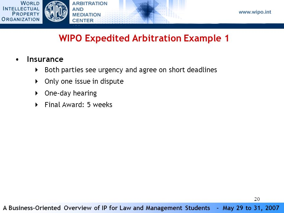 A Business-Oriented Overview of IP for Law and Management Students - May 29 to 31, 2007 20 WIPO Expedited Arbitration Example 1 Insurance Both parties see urgency and agree on short deadlines Only one issue in dispute One-day hearing Final Award: 5 weeks