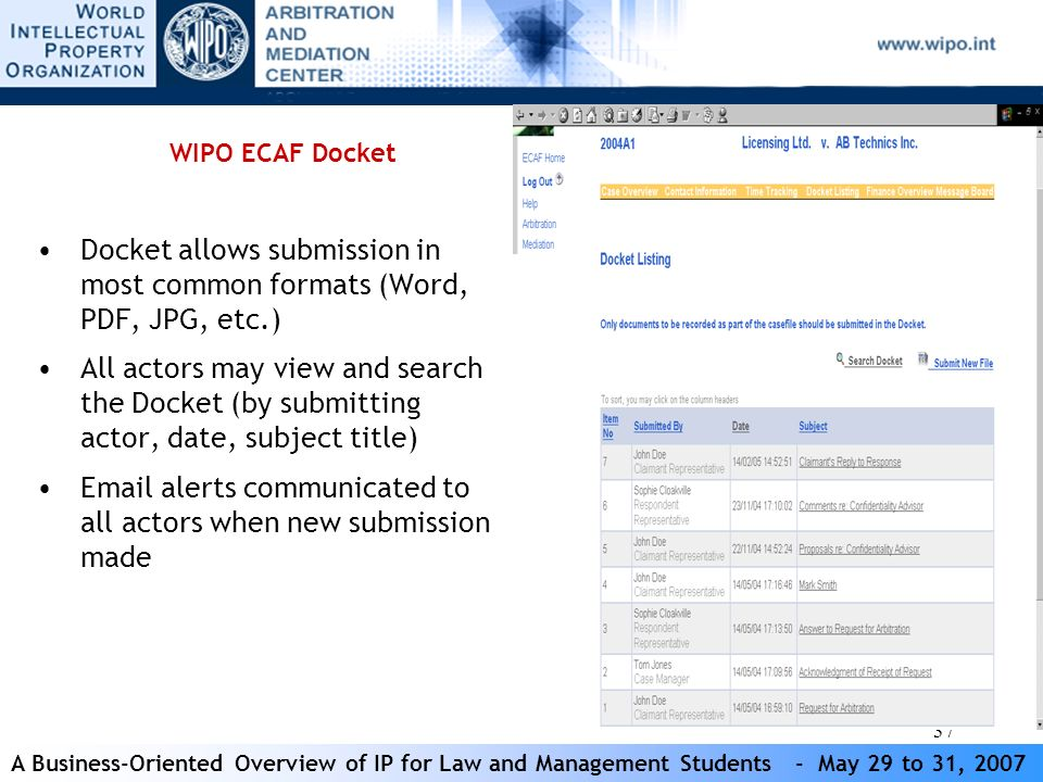 A Business-Oriented Overview of IP for Law and Management Students - May 29 to 31, 2007 37 WIPO ECAF Docket Docket allows submission in most common formats (Word, PDF, JPG, etc.) All actors may view and search the Docket (by submitting actor, date, subject title) Email alerts communicated to all actors when new submission made