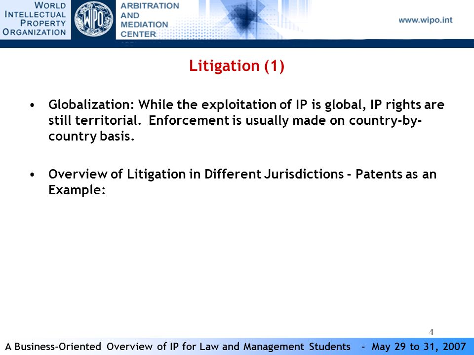 A Business-Oriented Overview of IP for Law and Management Students - May 29 to 31, 2007 4 Litigation (1) Globalization: While the exploitation of IP is global, IP rights are still territorial.