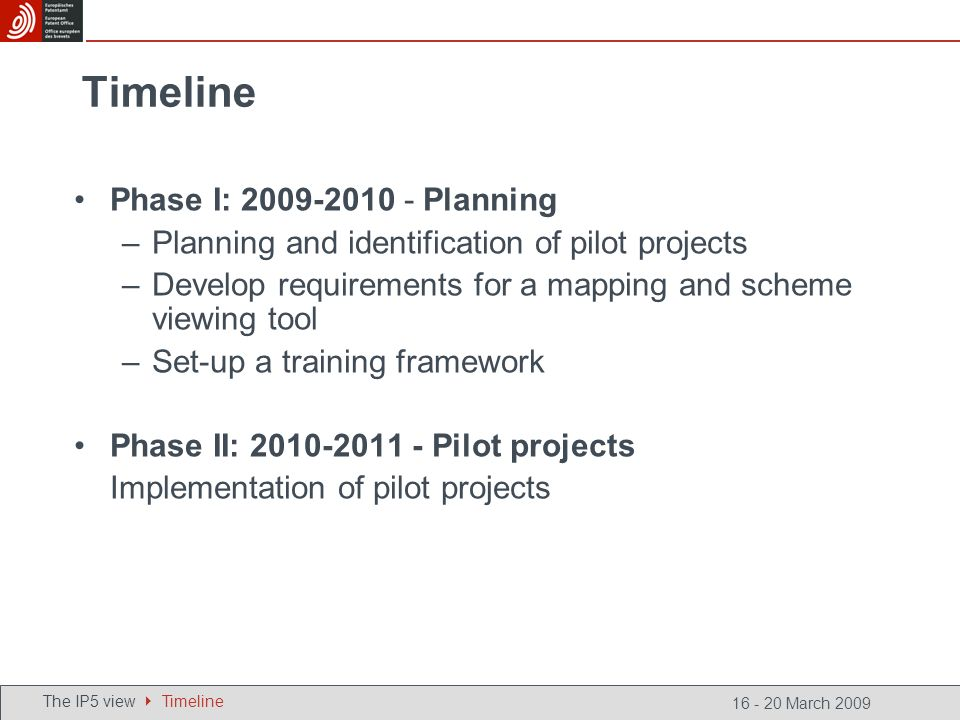 16 - 20 March 2009 Timeline Phase I: 2009-2010 - Planning –Planning and identification of pilot projects –Develop requirements for a mapping and scheme viewing tool –Set-up a training framework Phase II: 2010-2011 - Pilot projects Implementation of pilot projects The IP5 view Timeline