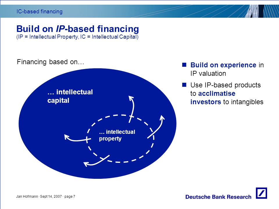 IC-based financing Jan Hofmann · Sept 14, 2007 · page 7 Build on IP-based financing (IP = Intellectual Property, IC = Intellectual Capital) … intellec