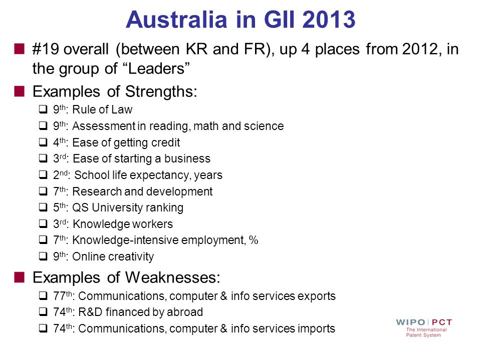 Australia in GII 2013 #19 overall (between KR and FR), up 4 places from 2012, in the group of Leaders Examples of Strengths: 9 th : Rule of Law 9 th :