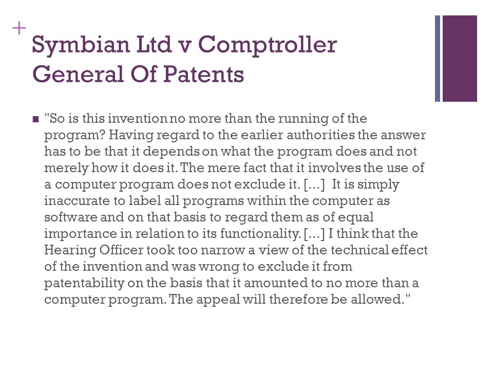 + Symbian Ltd v Comptroller General Of Patents