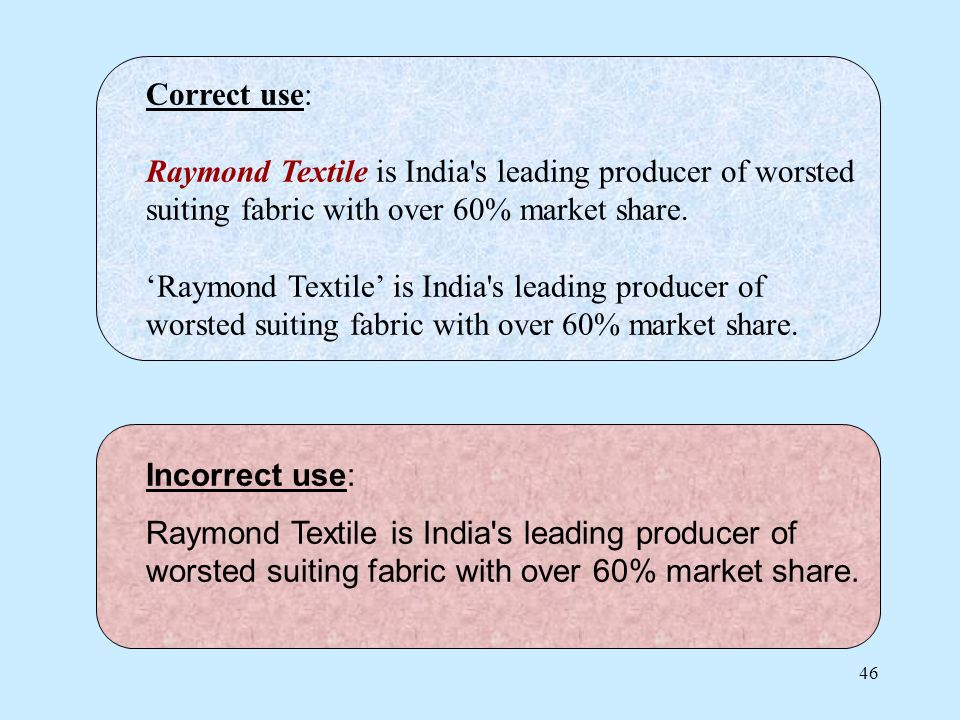 46 Correct use: Raymond Textile is India s leading producer of worsted suiting fabric with over 60% market share.Raymond Textile is India s leading producer of worsted suiting fabric with over 60% market share.