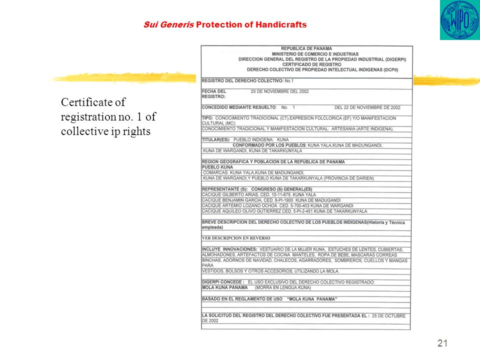 21 Sui Generis Protection of Handicrafts Certificate of registration no. 1 of collective ip rights