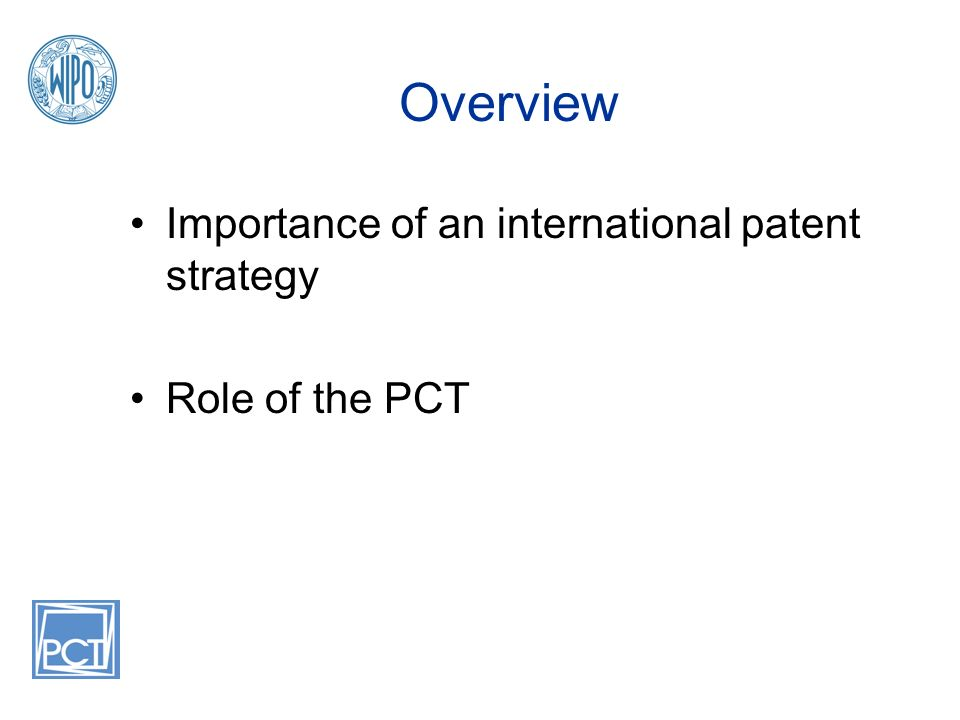 Overview Importance of an international patent strategy Role of the PCT