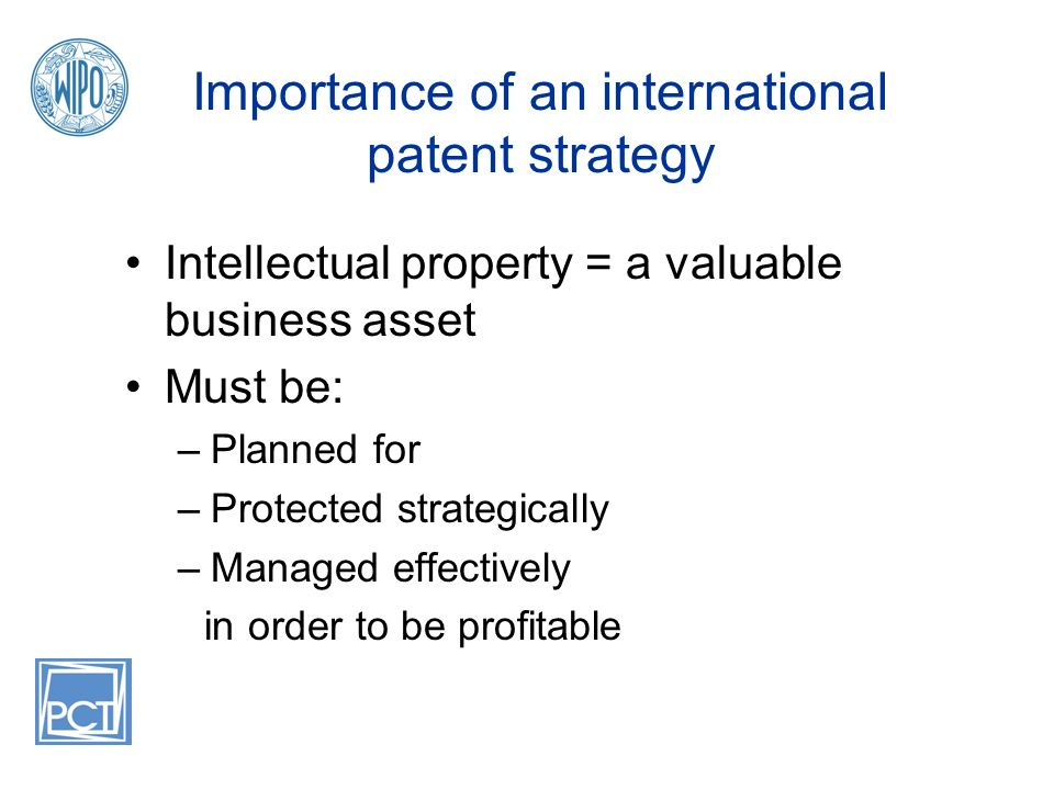 Importance of an international patent strategy Intellectual property = a valuable business asset Must be: –Planned for –Protected strategically –Managed effectively in order to be profitable