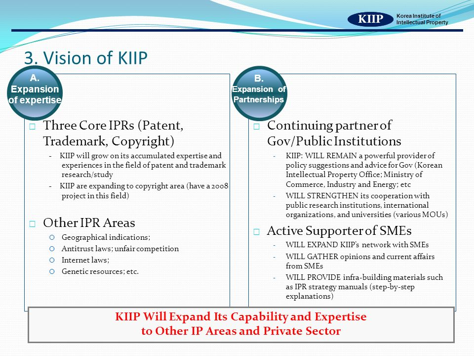 KIIP Korea Institute of Intellectual Property 3. Vision of KIIP KIIP A.