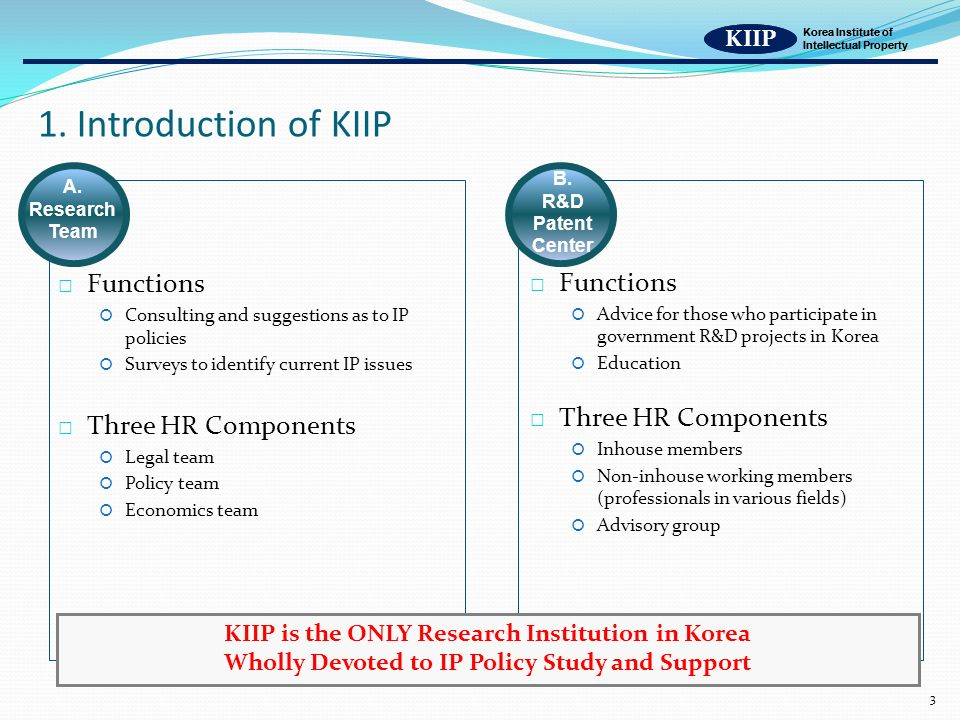 KIIP Korea Institute of Intellectual Property 3 1.
