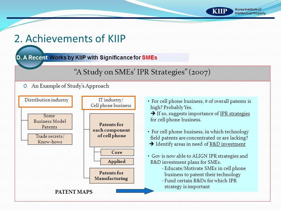 KIIP Korea Institute of Intellectual Property An Example of Studys Approach Distribution industry For cell phone business, # of overall patents is high.