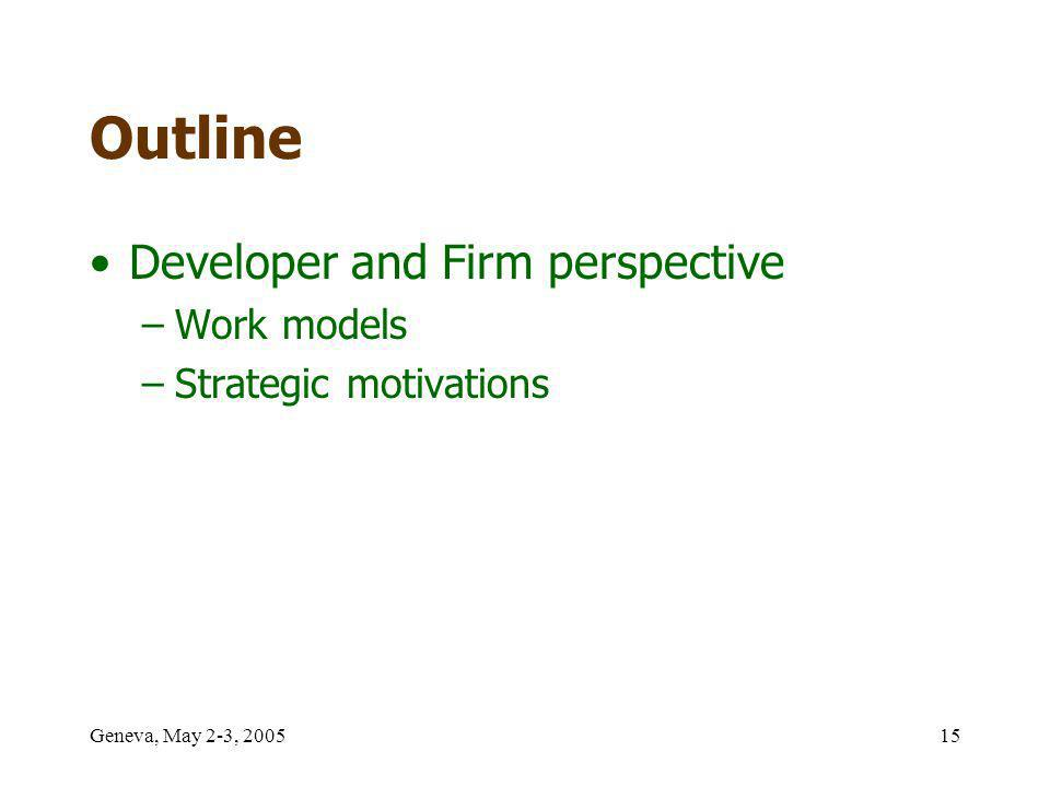 Geneva, May 2-3, 200515 Outline Developer and Firm perspective –Work models –Strategic motivations