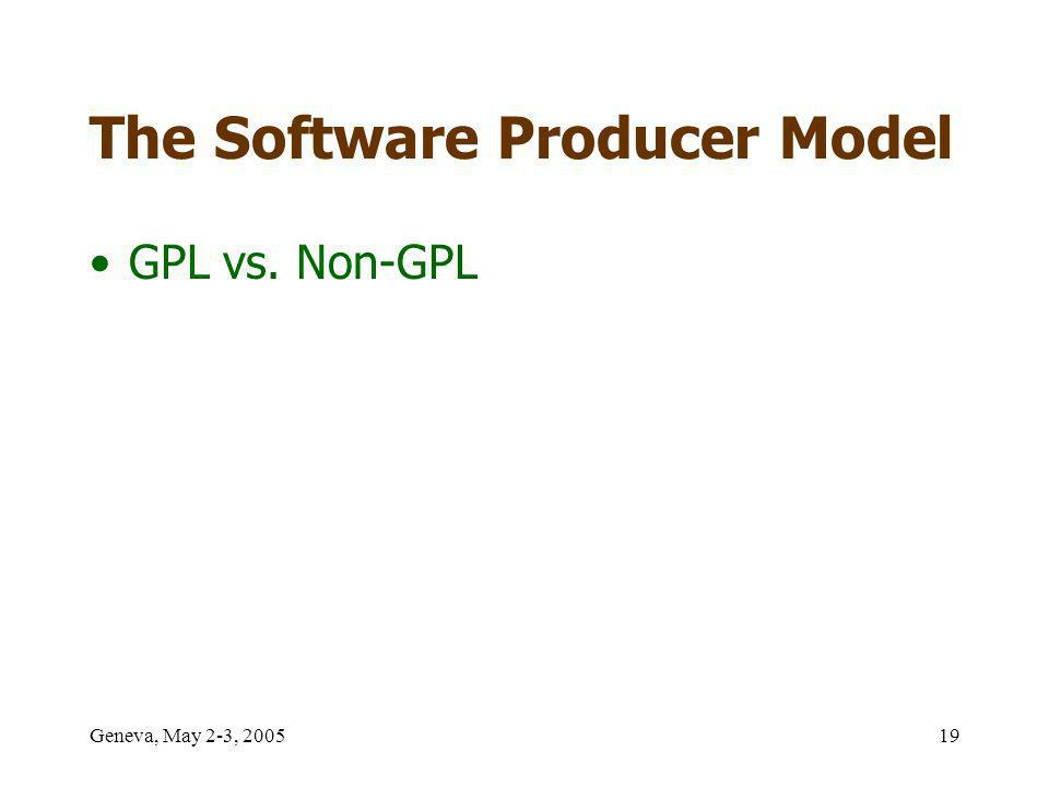 Geneva, May 2-3, 200519 The Software Producer Model GPL vs. Non-GPL