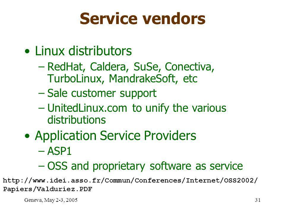 Geneva, May 2-3, 200531 Service vendors Linux distributors –RedHat, Caldera, SuSe, Conectiva, TurboLinux, MandrakeSoft, etc –Sale customer support –UnitedLinux.com to unify the various distributions Application Service Providers –ASP1 –OSS and proprietary software as service http://www.idei.asso.fr/Commun/Conferences/Internet/OSS2002/ Papiers/Valduriez.PDF
