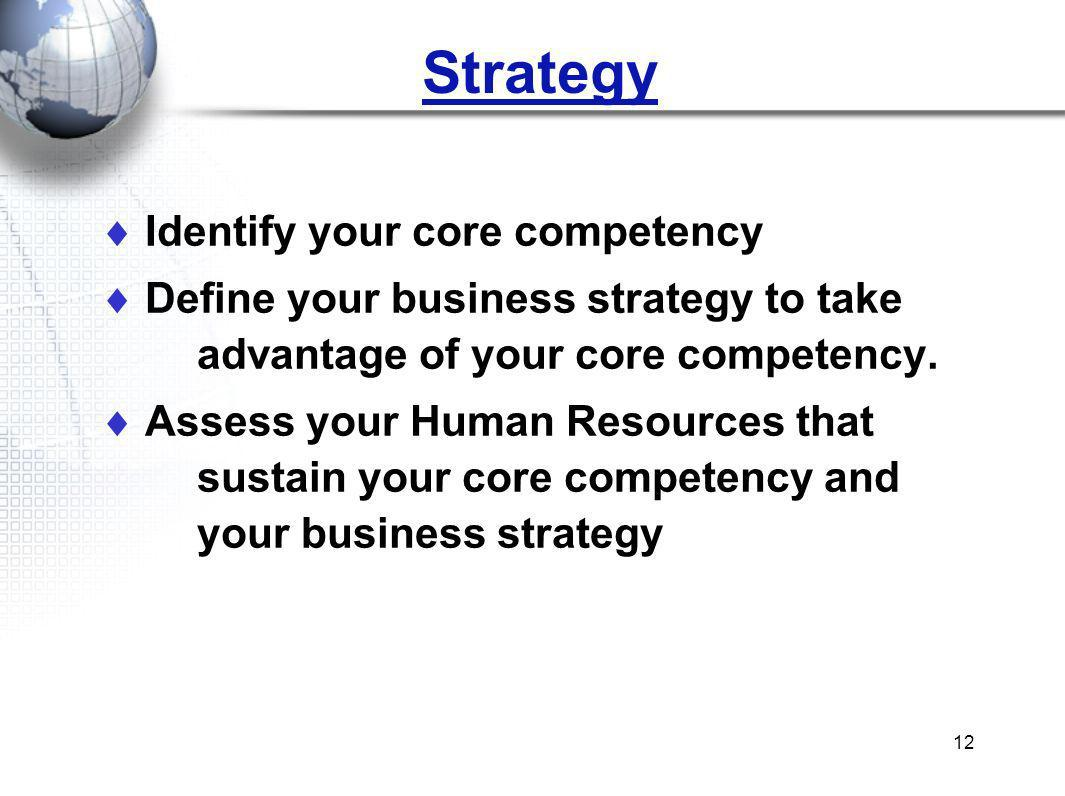 12 Identify your core competency Define your business strategy to take advantage of your core competency. Assess your Human Resources that sustain you