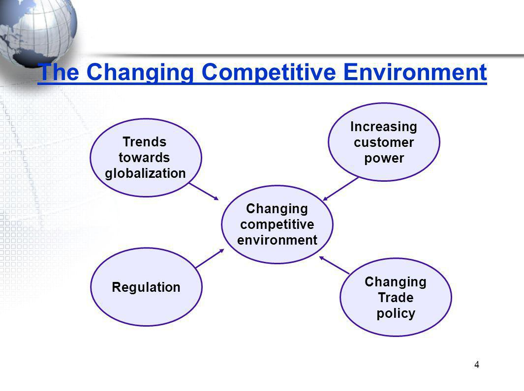 4 The Changing Competitive Environment Trends towards globalization Changing competitive environment Increasing customer power Regulation Changing Trade policy