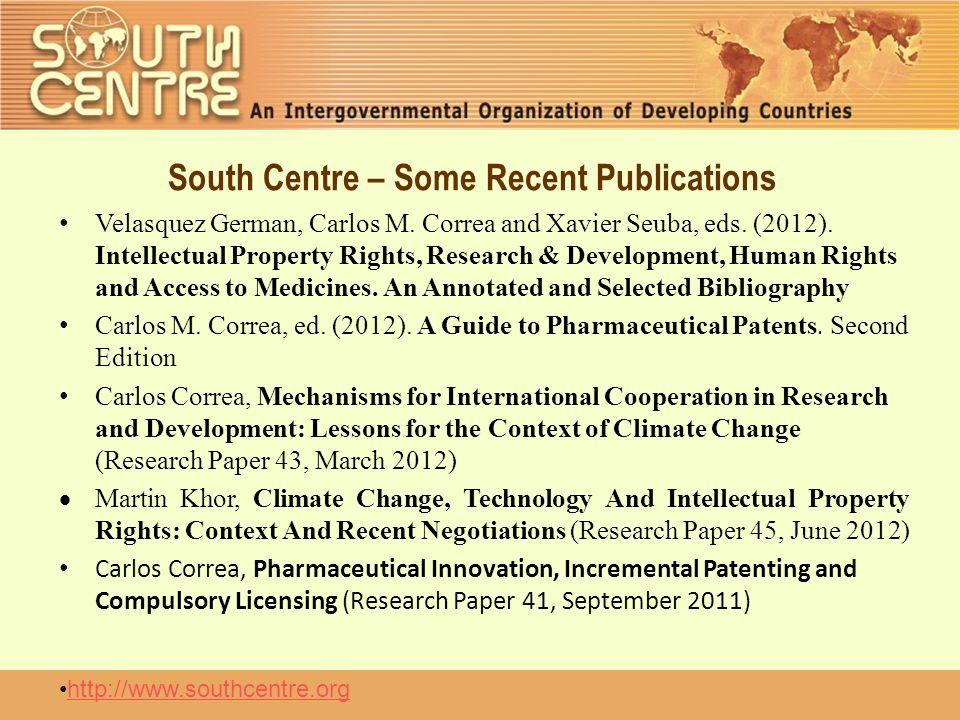 South Centre – Some Recent Publications Velasquez German, Carlos M.