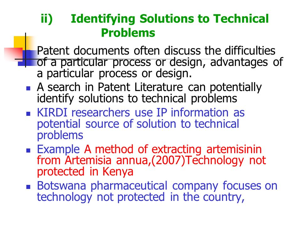 Patent documents often discuss the difficulties of a particular process or design, advantages of a particular process or design. A search in Patent Li