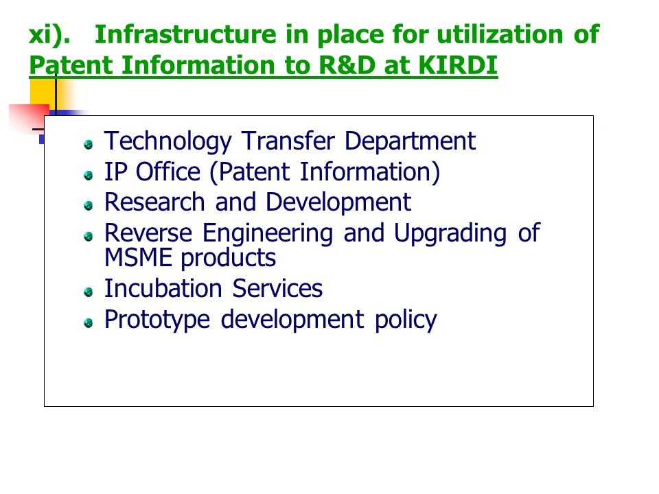 Technology Transfer Department IP Office (Patent Information) Research and Development Reverse Engineering and Upgrading of MSME products Incubation S