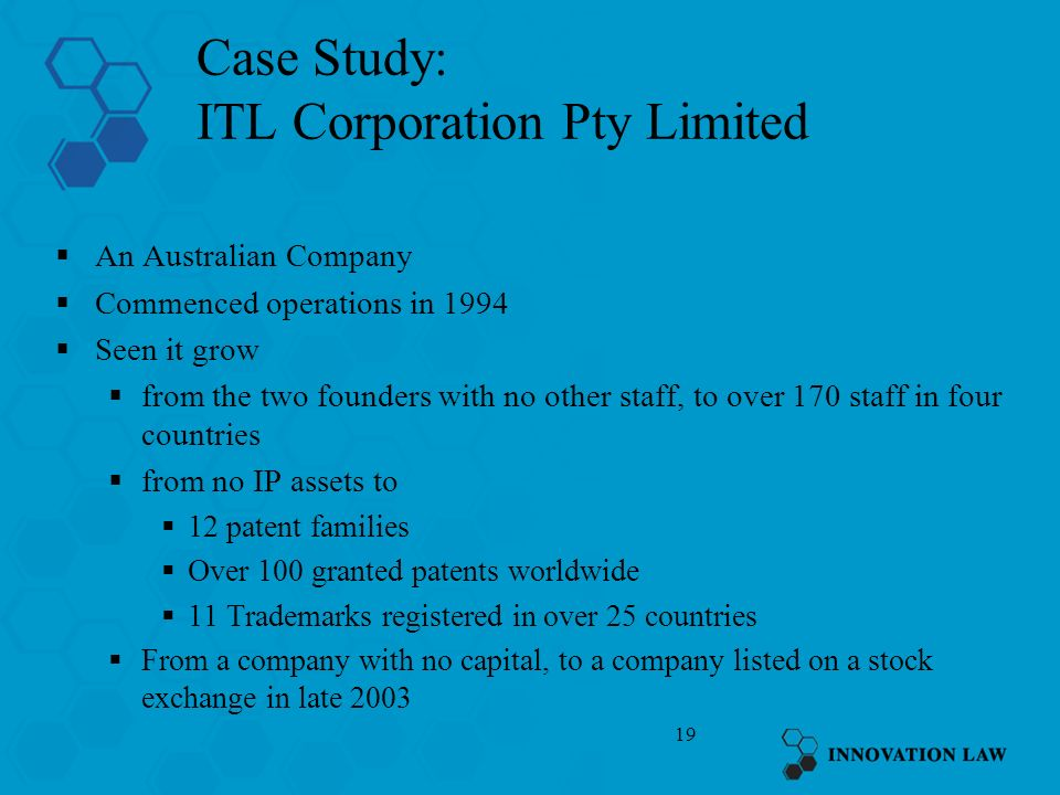 19 Case Study: ITL Corporation Pty Limited An Australian Company Commenced operations in 1994 Seen it grow from the two founders with no other staff,