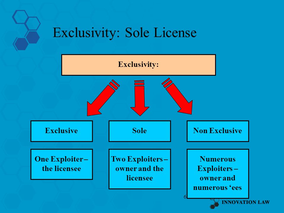 6 Exclusivity: Sole License ExclusiveSole Exclusivity: Non Exclusive One Exploiter – the licensee Two Exploiters – owner and the licensee Numerous Exp