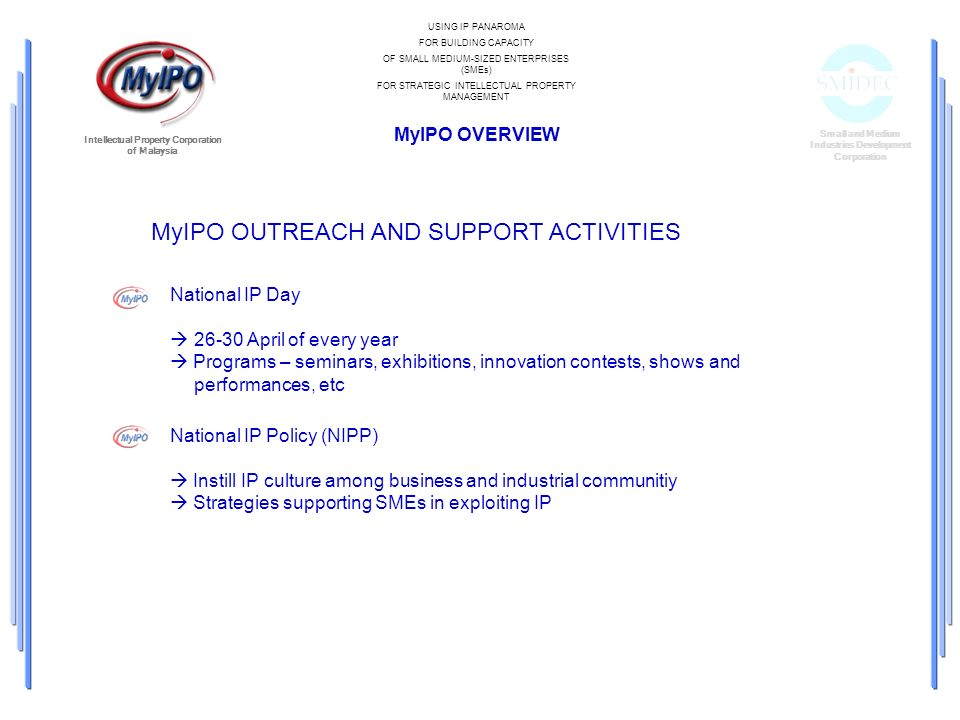 Small and Medium Industries Development Corporation Intellectual Property Corporation of Malaysia MyIPO OUTREACH AND SUPPORT ACTIVITIES National IP Da