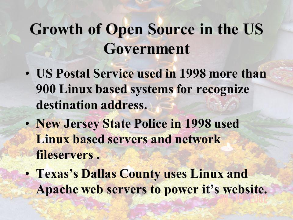 Growth of Open Source in the US Government US Postal Service used in 1998 more than 900 Linux based systems for recognize destination address. New Jer